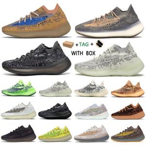 Kanye West 380 V3  2021 Top Fabrik Qualität Männer Turnschuhe Alien Nebel Schwarz Camo Frauen Runner Schuhe Empfang Socken Schlüsselanhänger Tagsanzug