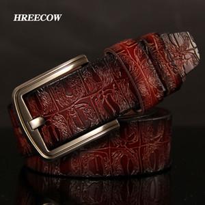 HreeCow Designer Ceintures Hommes Haute Qualité Male Court Véritable Straplevel de Cuir Speciflc Crocodile Crocodile Boucle CEINTURE HOMME