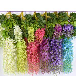 Elegante elegante fiore di seta glicine glicine fiore vite rattan per casa giardino decorazione di nozze festa di alta qualità LLS87