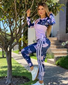Bayan Aktif Eşofman Moda Çiçekler Desen Şerit Kıyafetler Ile 2020 Sonbahar Ceket Tayt Toptan Trendy 2 Parça Setleri