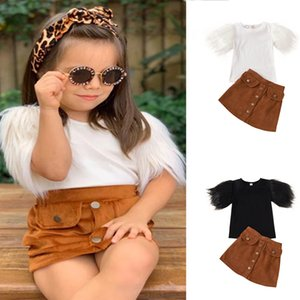 Newest INS Little Girls Cotton Suits Short Sleeve Tops + Skirts 2Pieces Children Girls Clothing Sets Child Summer Suits