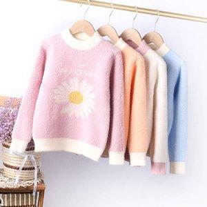 2020 Kış Butik Giyim Daisy Jakarlı Çocuk Kazak Kore Vizon Veet T-shirt