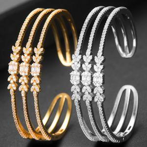 GODKI Personalize Wide Luxury 3 IN1 Geometry Bangle For Women Wedding Full Micro Zircon Crystal Dubai Silver Bracelet Bangle2019 F1205