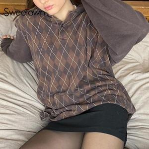 Послаурье коричневые негабаритные Y2K эстетические кофты женские argyle плед перчат стиль винтажные 90-х годов пуловер верхние рубашки пуловер пуловер