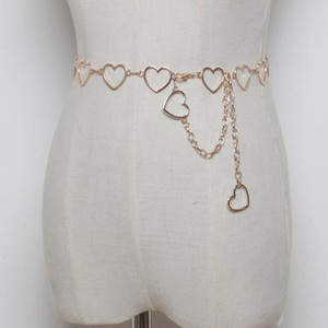 Femmes Mode Coeur Chaîne Ceinture Femme Or Taille Robe Ceintures en Métal mince 110cm long Designer Chaînes Tassel Fringe