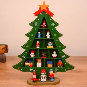 Christmas Tree Desktop Decoration DIY Wooden Red Green Xmas Tree Design Cartoon Santa Snowman Motif Table Decor GGE1916