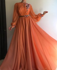 Elegant Organge Chiffon Prom Dresses A Line With Sash 2021 Appliqued Embroidery Flowers Lace Long Sleeves Women Girls Formal Evening Gowns