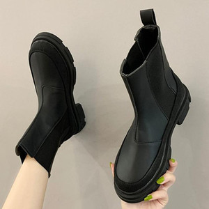 Winter Boots Women Fashion Ankle Boots White Buckle Strap Platform Shoes Round Toe Black Snow Mujer Invierno 2020