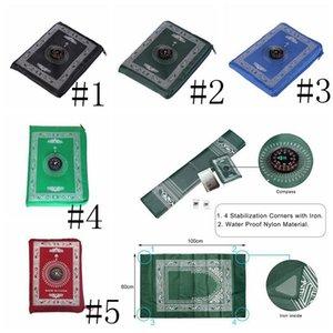 Coperte culto musulmani portatile intrecciato Compass Design preghiera Tappeti di viaggio Pocket Tappeto CompassIslamic preghiera Tappeto Mat BWC3765