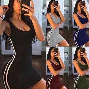 Hot Zsiibo Sexy Mulheres Verão Vestido Bodycon Bodycon Sem Mangas Party Party Clube Curto Mini Vestido 2019 Moda Mulheres Roupas