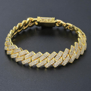 14mm Square Miami Cuban Link Bracelet Gold Color Iced Out Cubic Zirconia Rock Hip hop Style Men's Jewelry Drop Shipping Z1124