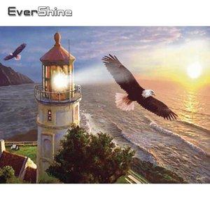Everershine Diamond Mosaico Eagle Lighthouse Pintura Pintura Paisagem Full Square Bordado Fotos de Rhinestone Venda