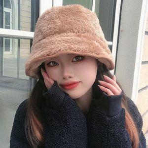 HT3478 Otoño Invierno Sombrero Mujeres Grueso Fleece Cálido Sombreros Para Mujeres Sólido Plazo Plano Plano Top Bucket Hat Ladies Wide Brim Fishing Cap