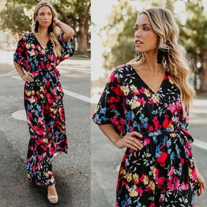 Elegant Womens Boho Summer Dress Floral Print Short Sleeve Long Maxi Dress Lady Party Wedding Beach Vestidos Sundress