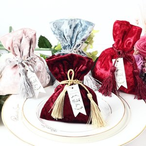 New Velvet Gift Bag with THANKS Card & Fringed Wedding Favors and Gift Box Candy Boxes for Wedding Baby Shower Party Supplies Y1121