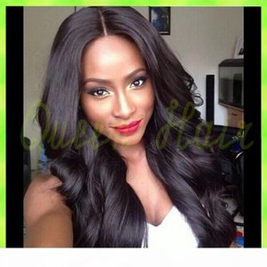 Stock Free Style Body Wave Peruvian Human Hair Full Lace Wigs Lace Front Wig Natural Black Color