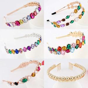 Colorful Gem Baroque Headbands For Women Diamond Luxury Hair Accessories Pearl Girls Crown Flower Hairbands Head Wrap Wholesale