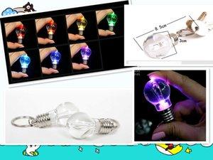 2018 Creative Led Lighting Bright Mini Light Bulb Colorful Flash Key Chain Keychain Flashlight Light Bulb Key Ring Keychain Lamp Torch