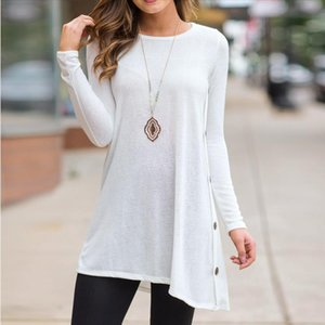 Fashion Solid Buttons Hem Blouse Casual Autumn Winter Ladies Loose Bottom Tops Female Women Long Sleeve Shirt Blusas Pullover