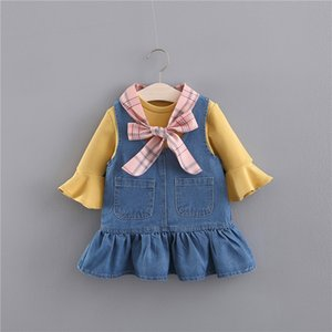 2pcs  set Bow T-shirt + denim strap skirt Spring Korean Girls Dress toddler clothes boutique kids clothing outfit 0-4 years Y1117