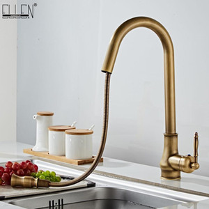 Antique Bronze Kitchen Faucets Pull Out Hot Cold Sink Swivel 360 Degree Water Faucet Water Mixer Pull Down Mixer Taps ELM902AB T200423