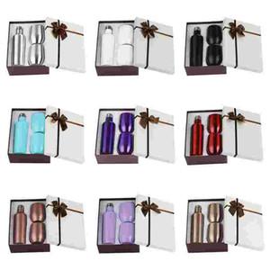 Bottiglia di vino Set con due bicchieri di vino 12 once Bottiglie in acciaio inox con tazza a forma di uovo in vetro isolante vetro isolato Regalo Mare Shipping FWA2666