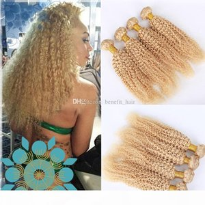 Bleached Blonde 613 Virgin Hair Bundles Kinky Curly Hair Weaves 4Pcs Lot Double Wefted Platinum Blonde Pure 613 Hair Extension For Woman