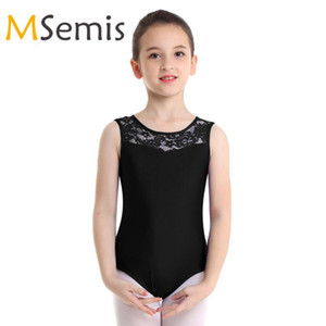 Kids Girls Gymnastics Swimsuit for Dancing Sleeveless Lace Splice Cutout Bodysuit Ballet Dancewear Gymnastics Leotard Jumpsuit