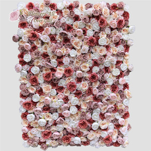 3D Artificial Flowers Wall Panel And Fake Flower Wedding Background Decoration With Camellia Bud GY800