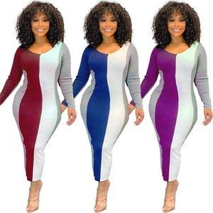 Rayas Sexy Vestidos delgados para mujer Diseñador Scoop Scoop Cuello de manga larga Bodycon Hip Dress Style Style Style