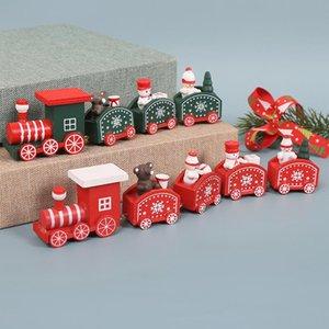 Wooden Noël Train Snowman Bear Mini Train Décor Ensemble Train De Noël Ornement Jouets Décorations Accueil Décor DHA2488