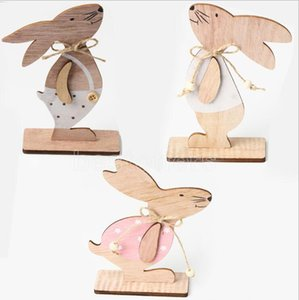 Wooden Easter Bunny Toy Easter Bunny Tabletop Decoration Creative Home Decoration Wooded Furnishing Kids Gift Party Supplies Fast