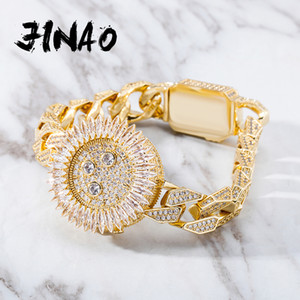 JINAO New Luxury Watch Style Bracelet High Quality Iced Micro Pave Cubic Zirconia With Spring Clasp Hip Hop Jewelry For Gift B1205