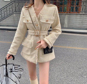 121 2021 Spring High Quality Free Shipping V Neck Long Sleeve Coat Tweed Fashion Womens Clothes SH