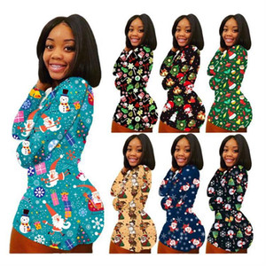 Plus Sizes Christmas Women Jumpsuits Long Sleeve Romper Shorts Xmas Gift Santa Claus Snowman Onesies Leisure Wear Jumpsuit F111805