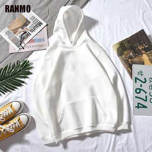 Ranmo Hommes Sweats Hoodies Casual Harajuku Automne Solide Manches Longues Lâche Coréen Hip Hop Hood Sweatshirts Streetwear Pullovers Tops Man