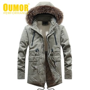 Oumor Winter Men Casual Long Fur Collar Hooded Fleece Jacket Parkas Men Brand Outfit Fashion Warm Thick Pocket Parkas Men 201130