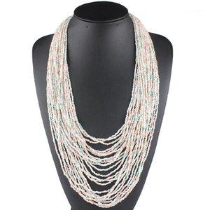 Claire Jin Multilayer Böhmische Halskette Frauen Boho Schmuck Lange Kleine Perlen Mode Ethnische Multi Layer Handmade1
