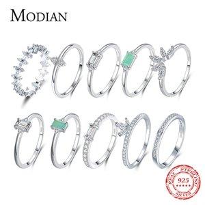 Moda Modian 100% 925 Sterling Silver Silver Tower Line Binger Anelli Classic Clear CZ Brilliant Gioielli per le donne Impegno Belle veleno