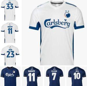 20 21 Danish Kopenhagen Fischer Fussball Jersey Entfernung Tiefblau Sigurdsson Zeca N'Doye Skov Soccer Uniform Kopenhagen Fußball Jersey 2020
