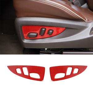 Car Seat Adjustment Panel Decorative Stickers Interior Accessories 2PC For Chevrolet Silverado 2014-2018 Red Carbon Fiber