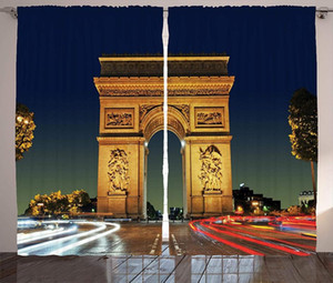 Paris Curtains Arc de Triomphe Paris France Touristic Entrance Roundabout Evening Sunset Scenery Living Room Bedroom Window Drap