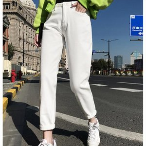 Plus Size High Waist Boyfriend Jeans Women Fashion Blue Black White Jeans Ladies Denim Harem Pants Casual Trousers Femme