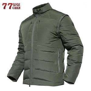 Qiqichen inverno warm down giostra tattico tattico manica staccabile cappotti traspirante impermeabile giacca ultra leggera roupas1