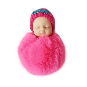Sleeping Baby Doll Plush Keychain Creative Cute Small Soft Fur Doll Pendant Car Bag Charm Fluffy Ball Keyring Toy for Kids