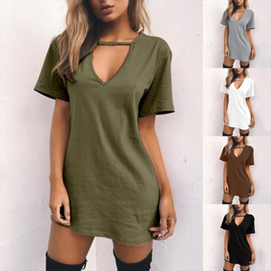 Women Tshirt Dress nbsp Choker Deep nbsp V neck Summer Dresses Mini T Shirt Dress Short Sleeve Ladies nbsp Casual Sexy Clothing