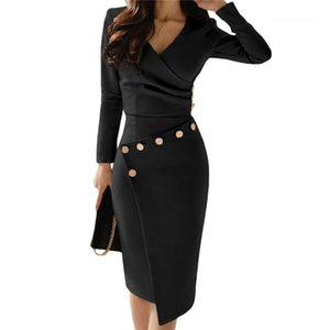 Party Dresses Womens Solid Color V Neck Asymmetry of Folds Long Sleeve Bodycon Dress For Women High Waist Sexy