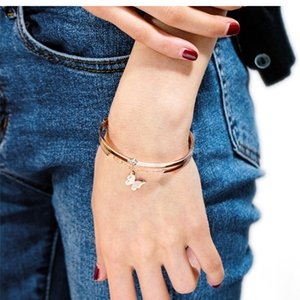 Fashion titanium steel bracelet women's simple butterfly diamond plated rose gold bracelet best friend Valentine's Day gift