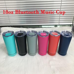 18 oz Copa de música de Bluetooth creativa 8 colores Vacador de vino de acero inoxidable con altavoz y cable USB Regalo práctico año nuevo