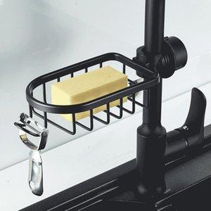 Ванная полка Черная Душевая корзина для хранения стойки Регулируемый кран Дренажная полка Кухонные Санди